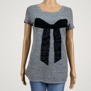 American Eagle Outfitters Gray Star Bow T-shirt